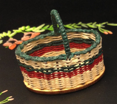 Handled Shopping Basket, Red and Green by Brandaen Jones