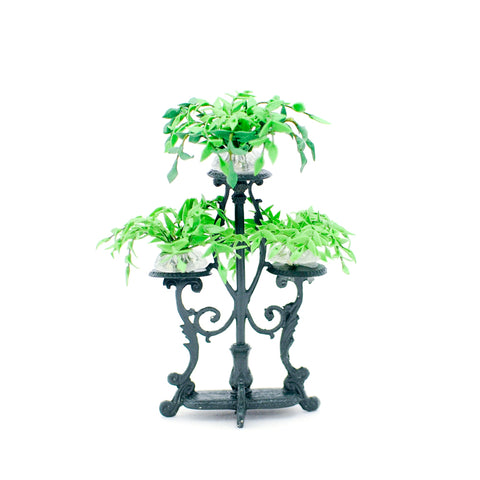 Green Triple Iron Plant Stand with 3 Ivy Pots