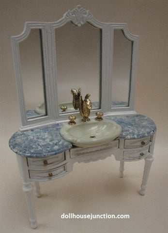 Vanity with Sink, White with Blue Marble