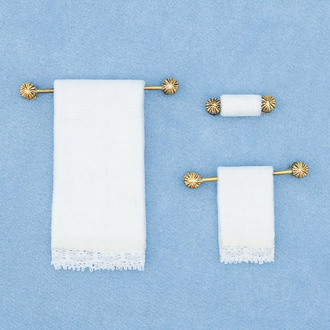 Three Piece Brass Bath Towel Bars with White Towels