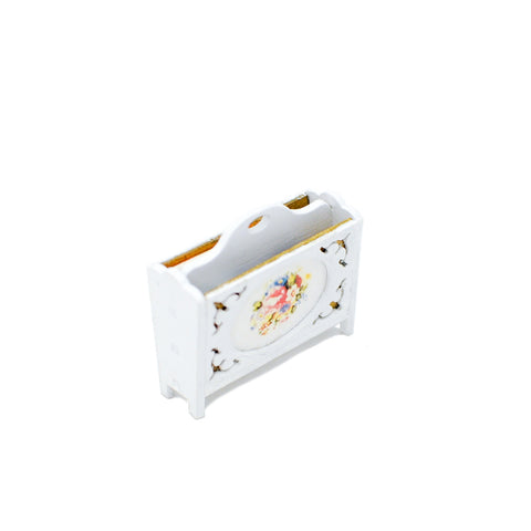 Magazine Rack, White with Flowers