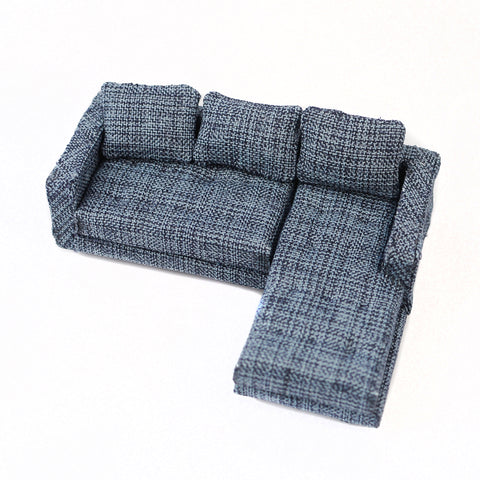 Sectional Sofa, Denim Blue Tweed