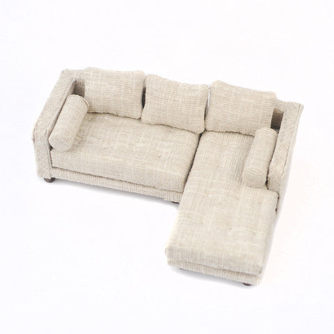 Sectional Sofa, Beige Tweed
