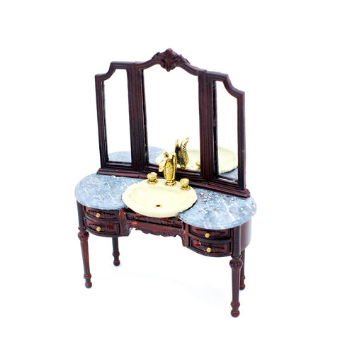 Vanity with Sink, Mahogany with Blue Marble