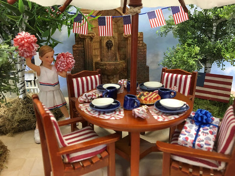 12 Piece Dinner Set with Red and Blue Baseball Theme