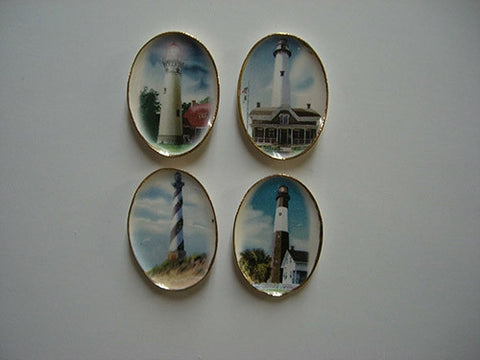 Oval Light House Platters, Set of Four