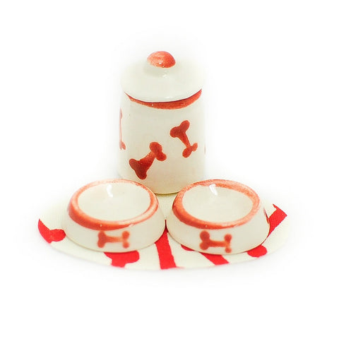 Dog Food Set with Red Paws