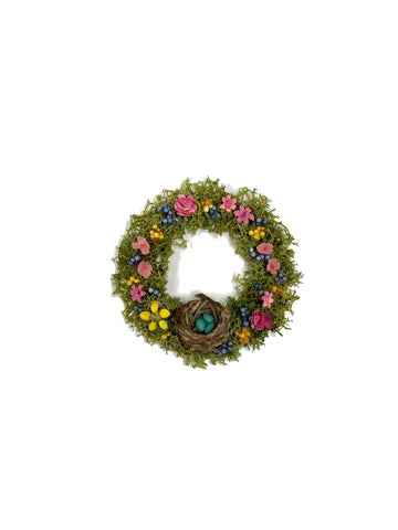 Floral Wreath with Birds Nest
