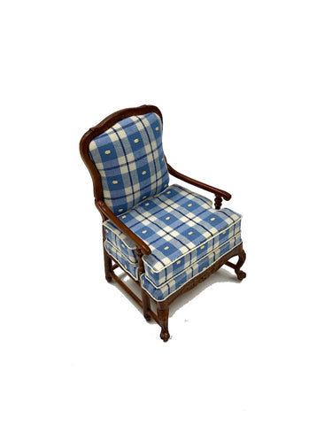 Blue Plaid Arm Chair