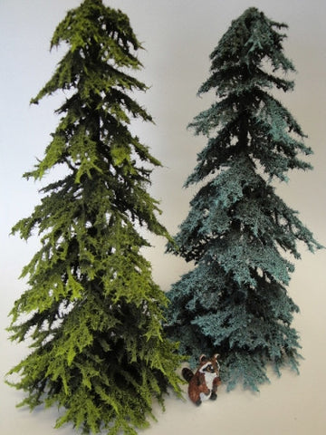 Evergreen Tree, Set of Two Large, Green and Blue Spruce