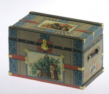 LITHOGRAPH WOODEN TRUNK KIT, VICTORIAN CAT