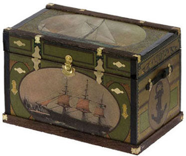 Lithograph Wooden Trunk Kit, Nautical Ship