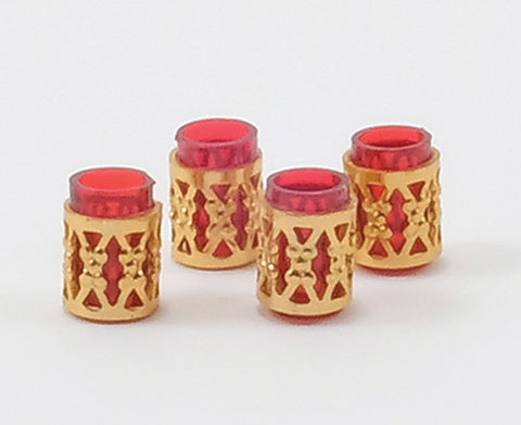 Red Tumblers with Gold Filagree, Set of Four