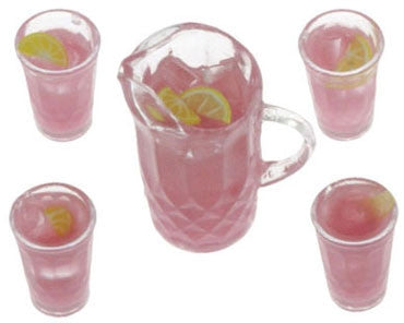 Lemonade Set, Pink, Pitcher and Four Glasses