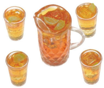 Iced Tea Set, Pitcher and Four Glasses, Miniature