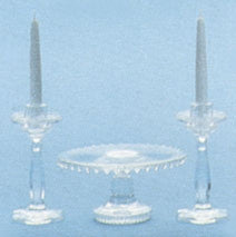 Clear Candlestick and Cake Plate Set Kit