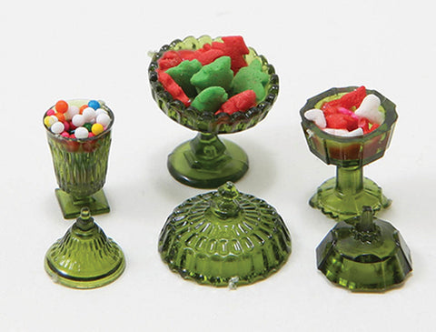 Candy Dish Set, Green Glassware