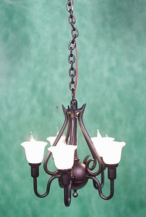 Clare-Bell 5 Arm Upright Tulip Chandelier, Black Finish 20% OFF