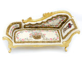 Chaise Lounge, Gold with Hand Painted Fabric