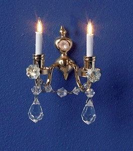 Wall Sconce, Brass and Crystal, Double Lighted