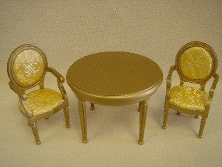 Table and Chairs in Gold