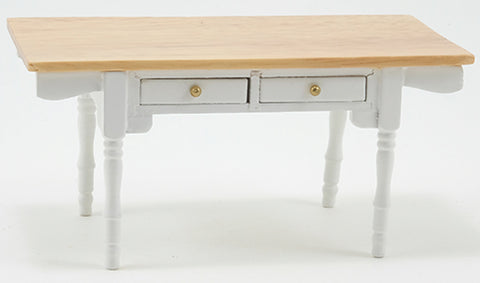 Vermont Kitchen Table, White with Oak