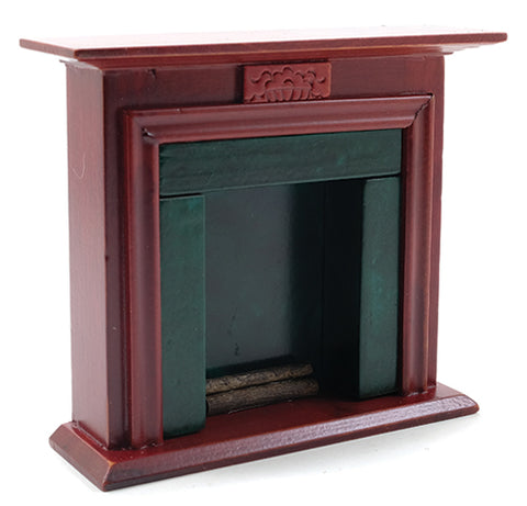 Fireplace, Mahogany and Green Marble