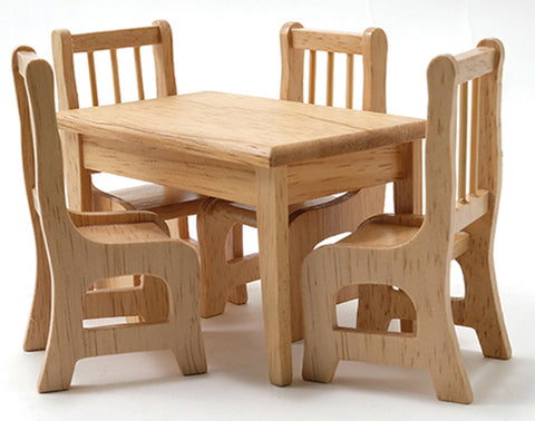 Table and Four Chairs, Oak