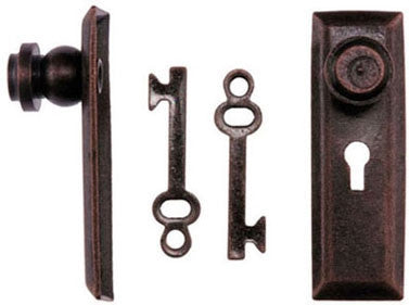 Door Knob and Key Plate Set, Oil Rubbed Bronze