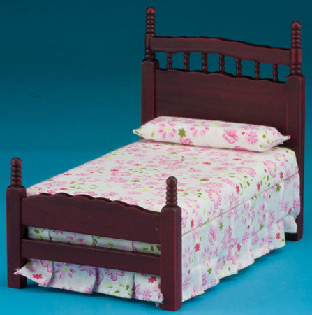 Single Bed, Mahogany, Floral Spread