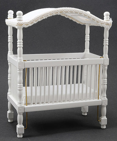 Canopy Crib, White with White Silk