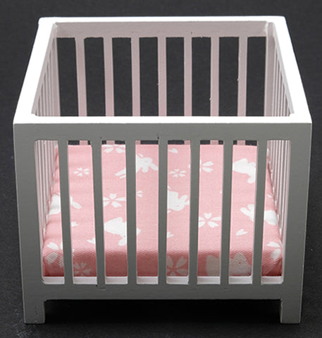 Playpen with Slats, White with Pink
