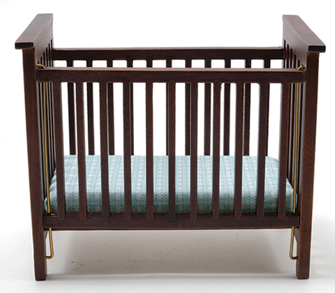 Slatted Nursery Crib, Walnut with Blue Fabric