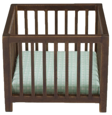 Playpen with Slats, Walnut with Blue