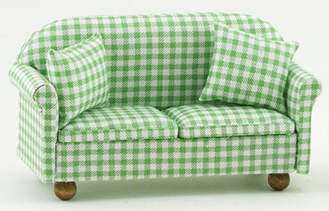 Love Seat with Pillows, Green and White Check