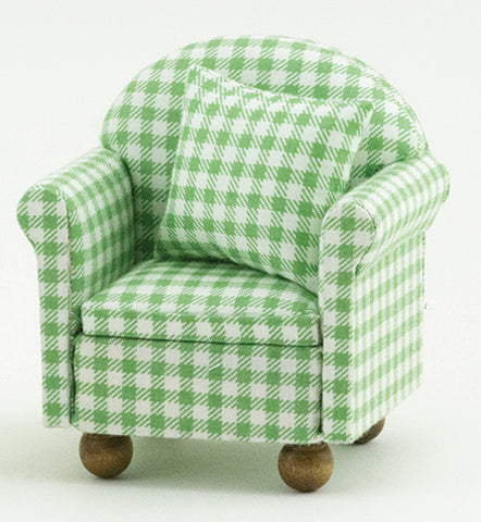 Arm Chair with Pillows, Green and White Check