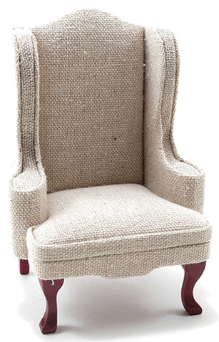 Wing Chair, Beige Linen