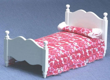 Twin Bed, White with Pink Heart Fabric