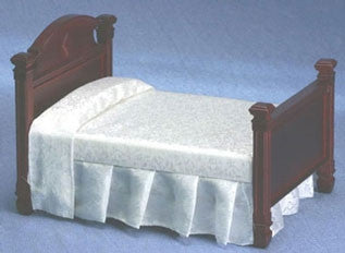 Double Bed, Mahogany with White Fabric Out of Stock