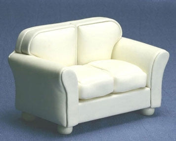 Cream Leather Loveseat