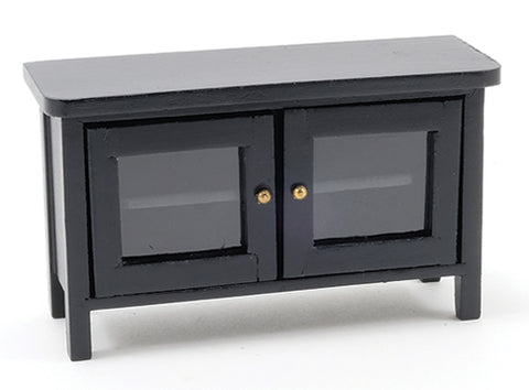 TV Stand, Black, with Cabinets