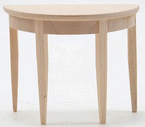 Demi Lune Side Table, Unfinished