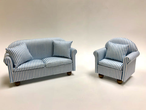 Sofa and Chair, Blue and White Stripe