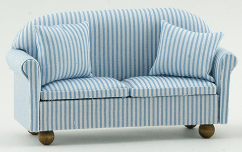 Sofa with Pillows, Blue and White Stripe