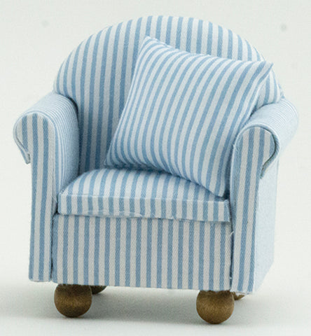 Chair with Pillows, Blue and White Stripe