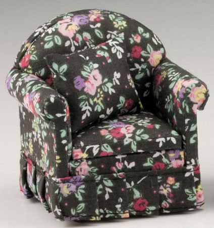 Chair with Pillows, Black Floral