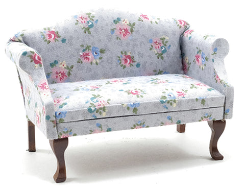 Sofa with Grey and Floral Chintz Fabric.