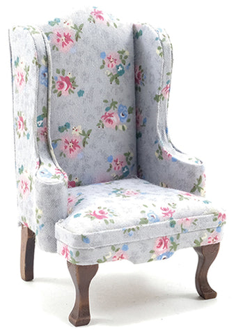 Wing Chair with Grey and Floral Chintz Fabric.