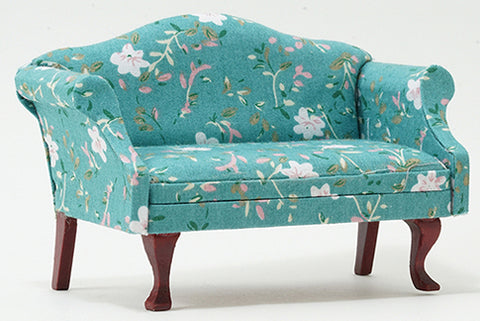 Sofa, Turquoise Floral and Mahogany