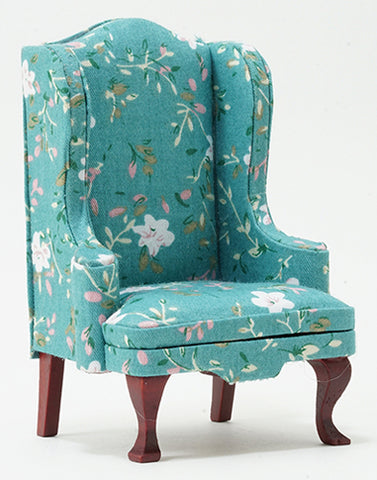Wing Chair, Turquoise Floral and Mahogany